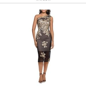 Xacape black and gold lace mesh dress